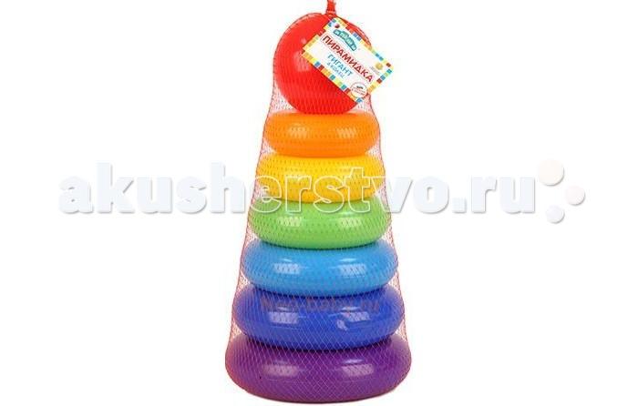 Развивающая игрушка Затейники Пирамида Гигант 6 колецПирамида Гигант 6 колецЗатейники Пирамида Гигант 6 колец - это яркая развивающая игрушка.   Пирамидка - это настоящее дидактическое пособие для малышей и тренажер для развития мелкой моторики и координации движений рук.   В процессе игры ребенок знакомится с разными цветами и размерами предметов, учится соотносить и сравнивать предметы по этим признакам.   С помощью пирамидки можно освоить устный порядковый счет.  В комплекте основание пирамидки, 6 разноцветных колец.  Изготовлено из высококачественной пластмассы.<br>