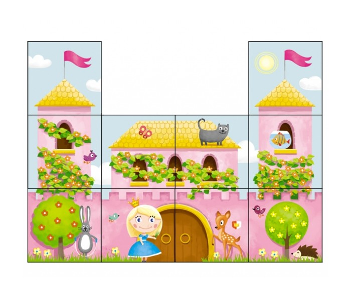 Развивающая игрушка Стеллар Кубики Дворец принцессыКубики Дворец принцессыСтеллар Кубики Дворец принцессы созданы для того, чтобы малыши могли составить яркую интересную картинку из приятных на ощупь кубиков.   Особенности: Кубики сделаны из пропилена, поэтому даже если ребенок будет кидать кубики, он не сможет ими пораниться.  В комплект входит 10 красочных кубиков.  Готовая картинка богата иллюстрациями: ребенок увидит принцессу, ее дом, маленьких зверюшек и природу.  Игра с кубиками в раннем возрасте хорошо влияет на развитие мелкой моторики, концентрации внимания и умение видеть целое и его части.<br>