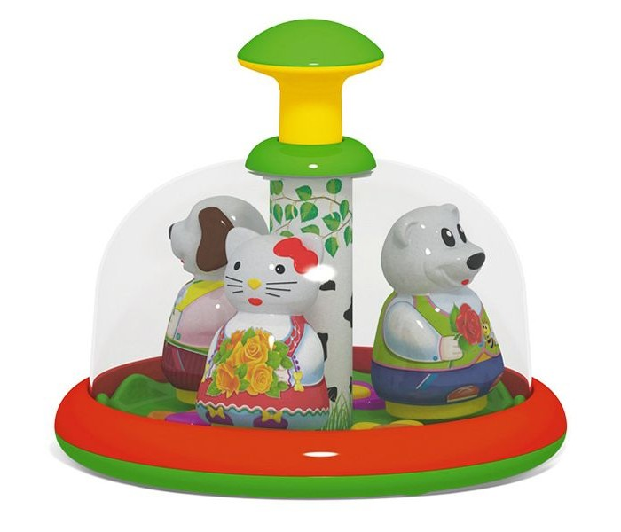 Развивающая игрушка Стеллар Юла-карусель ХороводЮла-карусель ХороводСтеллар Юла-карусель Хоровод имеет круглое основание с прозрачным верхним куполом, в котором можно увидеть 3 фигурки, выполненных в виде забавных животных в симпатичных нарядах.   Поднимая и опуская поршень в центре конструкции, можно заставить их завертеться в красочной круговерти под веселую музыку, создавая яркую картинку.<br>