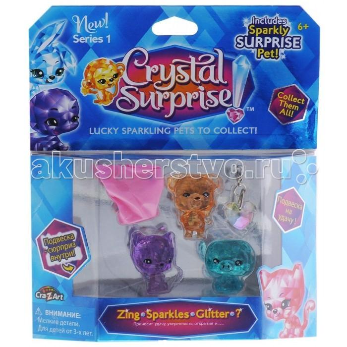 Crystal Surprise Набор №2 из 4-х фигурокНабор №2 из 4-х фигурокCrystal Surprise Набор №2 из 4-х фигурок - это одновременно и талисман, и украшение. Фигурки состоят как будто из светящихся кристаллов.  Особенности: С помощью комплекта вы сможете познакомиться с разнообразными животными.  У каждого персонажа есть свое имя и присущий только ему характер.  Набор игрушек будет символизировать творчество, дружбу, преданность и доброту. Фигурки отличаются друг от друга по цвету, поэтому вы сможете выбрать для себя переливающуюся игрушку по настроению или же использовать для игровых сюжетов всех персонажей. В комплекте также есть две сверкающие подвески, которые можно присоединить к одежде, ключам или же к браслету.<br>