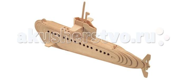 Конструктор Wooden Toys Сборная модель СубмаринаСборная модель СубмаринаСубмарина это сборная деревянная игрушка, объемная модель настоящей подводной лодки.   Все вырубные детали располагаются на фанерной доске. Для сборки модели их необходимо предварительно выдавить с места расположения и собирать в последовательности, указанной в прилагаемой инструкции.  Для того чтобы собранная модель служила долго, можно проклеить места соединения деталей при сборке.   При желании собранную модель можно раскрасить, используя любые типы краски. Производитель рекомендует темперные краски. После раскрашивания модель можно покрыть лаком.  В процессе сборки модели ребенок развивает усидчивость, пространственное и абстрактное мышление.   Все детали сборной модели изготовлены из экологически чистой древесины.  Комплектация:  4 фанерных пластины с деталями и инструкция по сборке.<br>