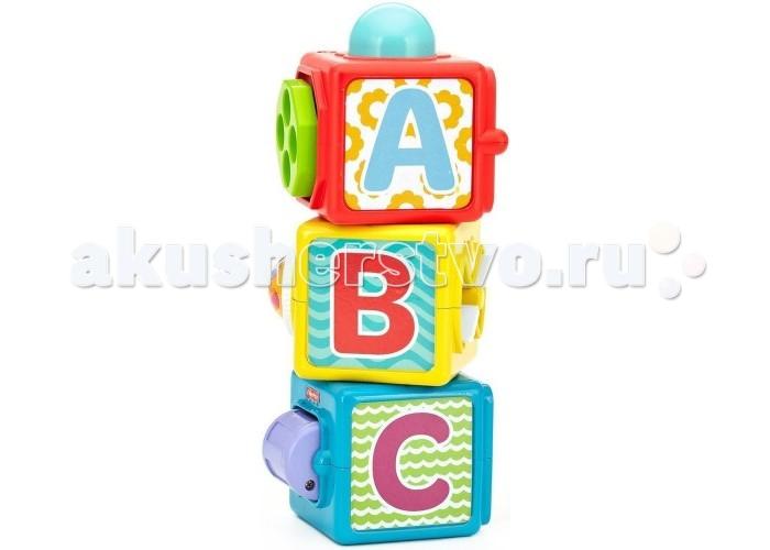 Развивающая игрушка Fisher Price КубикиКубикиРазвивающая игрушка Fisher Price Mattel Кубики изготовлены из высококачественного прочного пластика, безопасного для детей.  Особенности: В наборе 3 ярких кубика.  Кубики можно использовать по отдельности или складывать вместе. На каждом кубике 4 игровых грани: буквы, цифры, игра в прятки (персонаж закрывается дверцей), вращающиеся элементы.  Элемент голубого кубика - вращающийся барабан, желтого - крутящееся колесо с бусинами внутри, красного - щелкающий диск.  Нажатие на большую кнопку-мордочку на одной из граней активирует вращающиеся элементы.  Поставьте кубики друг на друга, чтобы запустить все механизмы одним движением!  При игре с кубиками малыш будет знакомиться с цветами.  Игрушка Fisher Price Волшебные кубики поможет вашему малышу развить мелкую моторику рук, сенсорные навыки и любознательность.<br>