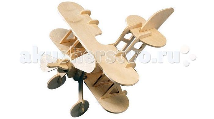 Конструктор Wooden Toys Сборная модель БипланСборная модель БипланБиплан это сборная деревянная игрушка, объемная модель настоящего старинного самолета с двумя крыльями, расположенными одно над другим.   Все вырубные детали располагаются на фанерной доске. Для сборки модели их необходимо предварительно выдавить с места расположения и собирать в последовательности, указанной в прилагаемой инструкции.  Для того чтобы собранная модель служила долго, можно проклеить места соединения деталей при сборке.   При желании собранную модель можно раскрасить, используя любые типы краски. Производитель рекомендует темперные краски. После раскрашивания модель можно покрыть лаком.  В процессе сборки модели ребенок развивает усидчивость, пространственное и абстрактное мышление.   Все детали сборной модели изготовлены из экологически чистой древесины.  Комплектация:  2 фанерных пластины с деталями и инструкция по сборке.<br>