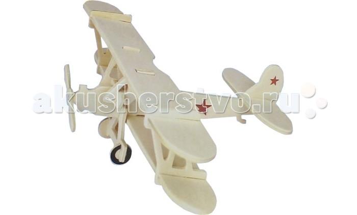 Конструктор Wooden Toys Сборная модель Биплан Небесный тихоход
