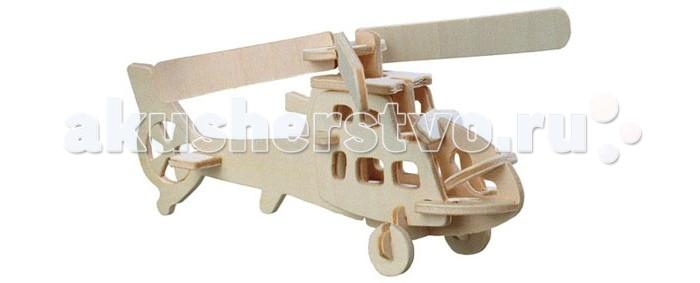 Конструктор Wooden Toys Сборная модель Вертолет боевойСборная модель Вертолет боевойБоевой вертолет это сборная деревянная игрушка, небольшая объемная модель настоящего военного вертолета.   Все вырубные детали располагаются на фанерной доске. Для сборки модели их необходимо предварительно выдавить с места расположения и собирать в последовательности, указанной в прилагаемой инструкции.  Для того чтобы собранная модель служила долго, можно проклеить места соединения деталей при сборке.   При желании собранную модель можно раскрасить, используя любые типы краски. Производитель рекомендует темперные краски. После раскрашивания модель можно покрыть лаком.  В процессе сборки модели ребенок развивает усидчивость, пространственное и абстрактное мышление.   Все детали сборной модели изготовлены из экологически чистой древесины.  Комплектация:  2 фанерных пластины с деталями и инструкция по сборке.<br>