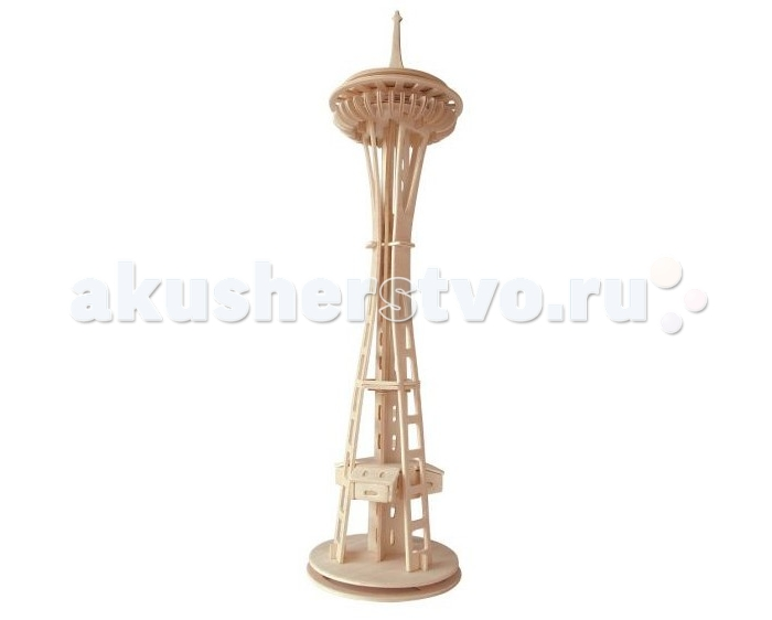 Конструктор Wooden Toys Сборная модель Башня Спейс-НидлСборная модель Башня Спейс-НидлСпейс-Нидл это сборная деревянная игрушка, объемная 3D модель башни, настоящей мировой достопримечательности.  Все вырубные детали располагаются на фанерной доске. Для сборки модели их необходимо предварительно выдавить с места расположения и собирать в последовательности, указанной в прилагаемой инструкции.  Для того чтобы собранная модель служила долго, можно проклеить места соединения деталей при сборке.   При желании собранную модель можно раскрасить, используя любые типы краски. Производитель рекомендует темперные краски. После раскрашивания модель можно покрыть лаком.  В процессе сборки модели ребенок развивает усидчивость, пространственное и абстрактное мышление.   Детали сборной модели изготовлены из экологически чистой древесины.  Комплектация:  3 фанерные пластины с деталями и инструкция по сборке.<br>