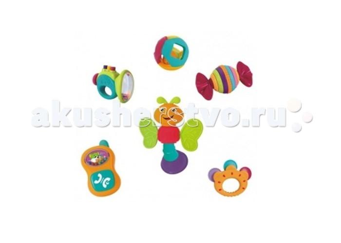 Погремушка Huile Toys Набор погремушек Y61172Набор погремушек Y61172Huile toys Набор погремушек Y61172  Набор из 6 погремушек подарит море удовольствия и незабываемые эмоции малышу благодаря разнообразию цветов, форм и звуков.   В наборе есть погремушка в виде шара с шариком внутри, звонкий бубен, пчёлка с крылышками, которые могут служить прорезывателями, а голова крутится и издает трескучий звук, труба с пищащими кнопками, конфета-трещотка с вращающимися элементами и телефон со щелкающей кнопкой.<br>