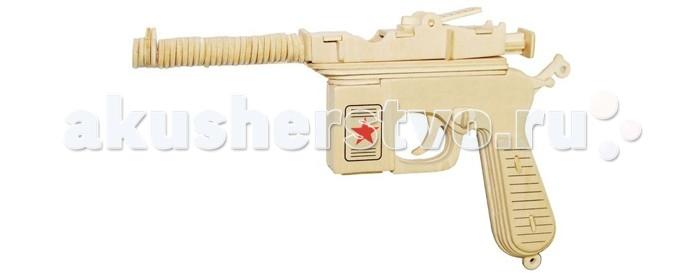 Конструктор Wooden Toys Маузер К96Маузер К96К96 это сборная деревянная игрушка, объемная модель настоящего легендарного пистолета Маузер К96, благодаря которому можно было вести бой на расстоянии до тысячи метров.   Все вырубные детали располагаются на фанерной доске. Для сборки модели их необходимо предварительно выдавить с места расположения и собирать в последовательности, указанной в прилагаемой инструкции.  Для того чтобы собранная модель служила долго, можно проклеить места соединения деталей при сборке.   При желании собранную модель можно раскрасить, используя любые типы краски. Производитель рекомендует темперные краски. После раскрашивания модель можно покрыть лаком.  В процессе сборки модели ребенок развивает усидчивость, пространственное и абстрактное мышление.   Детали сборной модели изготовлены из экологически чистой древесины.  Комплектация:  2 фанерные пластины с деталями и инструкция по сборке.<br>