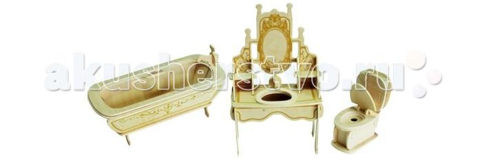 Конструктор Wooden Toys Сборная модель Ванная комнатаСборная модель Ванная комнатаМебель для кукол это сборная деревянная модель мебели для ванной комнаты. Она идеально подходит для кукол Silvanian Families. В комплект входят ванна, унитаз и умывальник с зеркалом, которые можно использовать для оформления кукольного дома.  Все вырубные детали располагаются на фанерной доске. Для сборки модели их необходимо предварительно выдавить с места расположения и собирать в последовательности, указанной в прилагаемой инструкции.  Для того чтобы собранная модель служила долго, можно проклеить места соединения деталей при сборке.   При желании собранную модель можно раскрасить, используя любые типы краски. Производитель рекомендует темперные краски. После раскрашивания модель можно покрыть лаком.  В процессе сборки модели ребенок развивает усидчивость, пространственное и абстрактное мышление.   Детали сборной модели изготовлены из экологически чистой древесины.  Комплектация:  2 фанерные пластины с деталями и инструкция по сборке.<br>