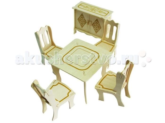 Конструктор Wooden Toys Сборная модель ГостинаяСборная модель ГостинаяМебель для кукол это сборная деревянная модель мебели для гостиной. Идеально подходит для кукол Silvanian Families. В комплект входят стол, четыре стула и комод. Мебель выглядит изящно и благородно, ее смело можно использовать для оформления кукольного дома.  Все вырубные детали располагаются на фанерной доске. Для сборки модели их необходимо предварительно выдавить с места расположения и собирать в последовательности, указанной в прилагаемой инструкции.  Для того чтобы собранная модель служила долго, можно проклеить места соединения деталей при сборке.   При желании собранную модель можно раскрасить, используя любые типы краски. Производитель рекомендует темперные краски. После раскрашивания модель можно покрыть лаком.  В процессе сборки модели ребенок развивает усидчивость, пространственное и абстрактное мышление.   Детали сборной модели изготовлены из экологически чистой древесины.  Комплектация:  2 фанерные пластины с деталями и инструкция по сборке.<br>