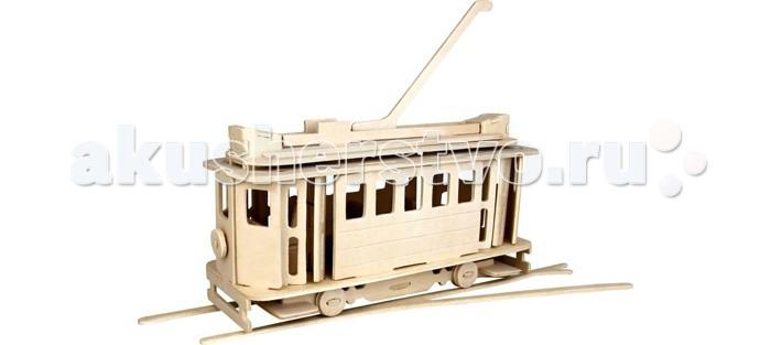 Конструктор Wooden Toys Сборная модель Московский трамвайСборная модель Московский трамвайМосковский трамвай это сборная деревянная игрушка, объемная и реалистичная модель настоящего московского трамвая на рельсах.  Все вырубные детали располагаются на фанерной доске. Для сборки модели их необходимо предварительно выдавить с места расположения и собирать в последовательности, указанной в прилагаемой инструкции.  Для того чтобы собранная модель служила долго, можно проклеить места соединения деталей при сборке.   При желании собранную модель можно раскрасить, используя любые типы краски. Производитель рекомендует темперные краски. После раскрашивания модель можно покрыть лаком.  В процессе сборки модели ребенок развивает усидчивость, пространственное и абстрактное мышление.   Детали сборной модели изготовлены из экологически чистой древесины.  Комплектация:  4 фанерные пластины с деталями и инструкция по сборке.<br>