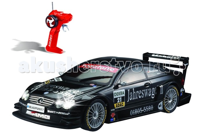 Auldey Машина на батарейках радиуоправляемая AMG-MERCEDES CLK LC296610-8Машина на батарейках радиуоправляемая AMG-MERCEDES CLK LC296610-8MERCEDES AMG CLK  - удивит владельца своими характеристиками и потрясающей детализацией! Игра с такой подарит мальчику много часов захватывающей и увлекательной игры, ведь автомобиль на р/у MERCEDES Auldey молниеносно реагирует на команды пульта, может двигаться вперед и назад, влево и вправо и останавливаться.  Помимо того, что автомобиль на радиоуправлении очень реалистично выполнен, детализирован, он еще и имеет высокопрофессиональное шасси, полнофункциональный контроль, независимую подвеску передних и задних колес, что делает автомобиль неимоверно маневренным и позволяют воспроизводить маневры настоящего авто.  Что особенно будет приятно ребенку - машина на р/у MERCEDES имитирует звук работающего двигателя, а при движении светятся передние и задние фары.  Характеристики: Лицензированная модель автомобильного бренда Высочайшая степень детализации в масштабе 1:28.  Высокий уровень точности радиоуправления позволяет добиться отличной точности поворотов даже на высокой скорости.  У автомобиля профессиональное шасси Полнофункциональный радиоконтроль.  Свет передних и задних фар, рабочие стоп - сигналы.  Независимая подвеска передних и задних колес, что позволяет ему имитировать маневры настоящей машины.  Управление осуществляется вперёд, назад, вправо, влево. При движении вперед-назад загораются соответствующие фары.  Двери и капот не открываются.  Управление автомобилем совершается с помощью пульта. Пульт управления оснащен подсветкой.  Материал: корпус из прочного пластика, шины из резины.  Радиус действия пульта — 15 м.  Скорость — 7 км/ч.  Игра в машинки помогает растущему малышу в развитии внимания, направляет на освоение физического пространства, помогают в понимании понятий быстрый и медленный, впереди, сзади, сбоку, вокруг. Игры с машинками способствуют в социально-эмоциональном развитии ребёнка, в развитии личности. В проце