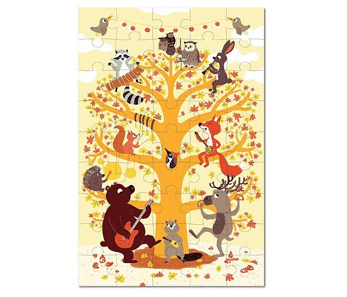 Krooom Игрушки из картона: пазл Лесные животныеИгрушки из картона: пазл Лесные животныеKrooom Игрушки из картона от 3 лет: пазл Лесные животные.  Лесной оркестр готов к выступлению. Бобр играет на гавайской гитаре, медведь на электрогитаре, олени стучат по бубну, ёж бьет в тарелки, белки звенят колокольчиками. Лиса играет на банджо, кролик на фаготе, енот на ксилофоне, а дирижирует всем этим оркестром сова.  45 штук, для детей старше 4-х лет Размер: 45 х 30 см.<br>