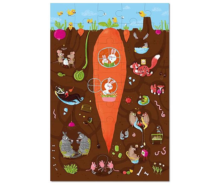 Krooom Игрушки из картона: пазл Под землёйИгрушки из картона: пазл Под землёйKrooom Игрушки из картона от 3 лет: пазл Под землёй.  Этот замечательный пазл позволит вам узнать о том, что под землей существует удивительный мир. Оказывается, там обитает множество интересных существ: кролики, живущие в морковке; семья ежей, которые обожают вязать свитера; пара мышей; тушканчики, весело прыгающие через скакалку; и даже старый барсук, который постоянно читает книги. Также, тут живут лисы, которые сейчас дремлют; броненосцы, играющие тем временем в карты, и другие существа – змеи, черви, муравьи, улитки.  45 штук, для детей старше 3-х лет Размер: 45 х 30 см.<br>