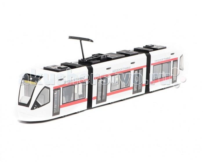 Пламенный мотор Инерционная модель Городской трамвай белый с красным 1:43Инерционная модель Городской трамвай белый с красным 1:43Игрушечная копия городского трамвая выглядит весьма современно. Необычный дизайн передней части модели отличает ее от предшественников. Однако неизменными остаются гармошки, соединяющие вагоны, которые выглядят, будто из настоящей резины, и подвижный токоприемник. Игрушка имеет инерционный механизм и открывающиеся двери. Внутри - проработанный салон с рядами сидений. У трамвая спереди и сзади имеются кабины для водителя, в которых установлены прокручиваемые таблички с указанием маршрута.   Основные характеристики:   Размер упаковки: 49 х 8 х 14 см Размер игрушки: 47 х 8 х 5.5 см Масштаб: 1:43<br>