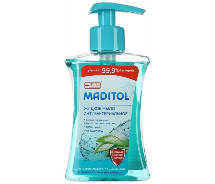 Косметика для мамы Aura Maditol Мыло жидкое антибактериальное для рук Алоэ-Вера 245 мл