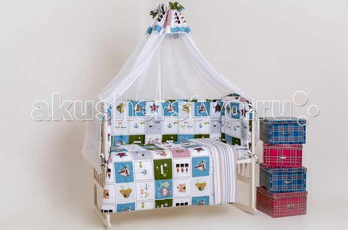 Комплект для кроватки Мой Ангелочек Дизайн № 9 (7 предметов)