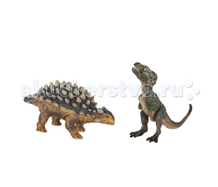 Dinosaur Family Динозавры Анкилозавр и ТиранозаврДинозавры Анкилозавр и ТиранозаврНабор динозавров Dinosaur Family Анкилозавр и Тиранозавр  Эти ящеры жили на нашей планете в конце мелового периода - около 65 млн. л.н. Грозный тиранозавр был одним одним из самых крупных сухопутных хищных ящеров из когда либо существовавших на нашей планете. Возможно, тиранозавр самый известный из динозавров. Его изображение можно увидеть на рекламе некоторых фирм или товаров.  Анкилозавр был настоящим танком мезозойской эры. Его тело покрывала мощная броня, а на хвосте имелась мощная костяная шишка. Анкилозавр был опасен даже для свирепого тираннозавра или альбертозавра.  Реалистичная фигурка изготовлена из высококачественного пластика.   Размер: 14 х 6 см<br>