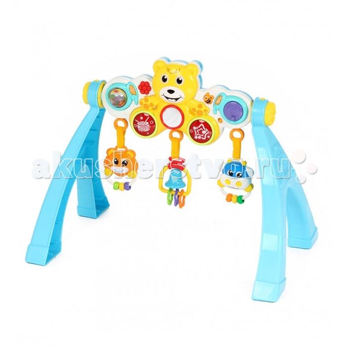 Игровой центр Fivestar Toys Мишка BeilexingМишка BeilexingИгровой развивающий центр Fivestar Toys Мишка Beilexing со звуковыми и световыми эффектами непременно придется по душе вашему малышу.С ним можно играть стоя, сидя и даже лежа.    Особенности   Основная панель выполнена в виде забавного медвежонка с безопасным зеркальцем и множеством красивых кнопок, активирующих разнообразные звуковые эффекты.   К мишке подвешены три яркие погремушки, которые можно потянуть вниз и услышать разные звуки.   Угол наклона панели регулируется.   Игровой центр можно закрепить в кроватке с помощью специальных креплений.    Все элементы набора выполнены из безопасных для детского здоровья материалов.   Тип батареек: 2 x AA<br>