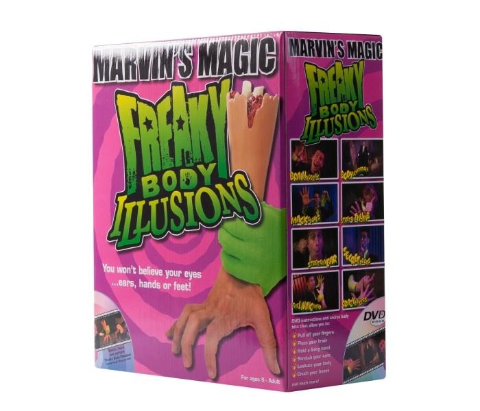 Marvins Magic Набор фокусов Смешные ужасы с  рукойНабор фокусов Смешные ужасы с  рукойВ этой маленькой коробочке есть все, что нужно, чтобы стать выдающимся фокусником! Поразите друзей и близких оригинальными трюками и фокусами!  Набор создан всемирно известным фокусником Марвином Бергласом, который основал британскую фирму Marvins Magic. Игра с фокусами развивает:  Логическое мышление Координацию движений Воображение и фантазию Артистизм Навыки общения  Ваш ребенок также научится держать себя на публике и чувствовать ее.  Набор изготовлен из качественных, безопасных для здоровья детей материалов, что подтверждено сертификатами качества.  Юный иллюзионист сможет левитировать тело, провести трюк с сумасшедшими пальцами и даже выкручивать их!   В набор входит:  игрушечный атрибут: рука карточки DVD-диск секретный код для раскрытия тайн инструкция<br>
