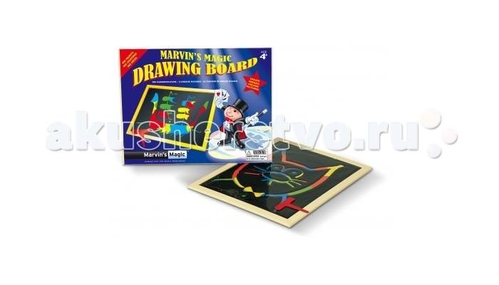 Marvins Magic Волшебная доска для рисованияВолшебная доска для рисованияВолшебная доска для рисования Marvin`s Magic подойдет в качестве подарка как мальчику, так и девочке. В набор входит доска и волшебная палочка для рисования, которая оставляет за собой четкие линии.   На этой доске можно выводить красивые картинки волшебной палочкой, не используя при этом карандаши, фломастеры или мелки. Используемые для изготовления игрушки материалы безвредны и нетоксичны.   Доска очень компактна, и ее удобно брать с собой в путешествие, чтобы с пользой провести свободное время. Доска для рисования обязательно понравится ребенку, а родители оценят высокое качество, надежность и безопасность изделия.  Рисование – одно из любимых занятий детей. Оно развивает воображение, память, внимание, мелкую моторику, учит ребенка думать, анализировать и готовит его руку к письму.  Размер доски для рисования: 33х26х0.6 см.<br>