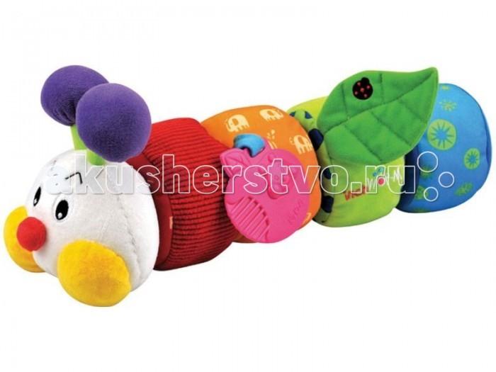 Развивающая игрушка KS Kids Гусеничка с прорезывателем KA604Гусеничка с прорезывателем KA604Игрушка развивающая Гусеничка Ks Kids – одна из тех ярких, приятных и позитивных игрушек для новорожденных обучающего характера.  С нею малыш будет хорошо спать и с удовольствием гулять, а также сможет научиться концентрировать внимание, развить моторику пальцев и тактильное восприятие. Игрушка для коляски Гусеничка звенит, трещит и шуршит, благодаря тем деталям, которые спрятаны в ее мягком тельце. Ваш малыш будет удивлен и обрадован.  С первых дней малыш познает мир, а с Гусеничкой от фирмы KS Kids делать это приятно и весело. Игрушка яркая и забавная обязательно понравиться ребенку, ведь ее так приятно брать в руки. Гусеничка не просто красивая, но еще и является конструктором, который состоит их четырех круглых частей с различными развивающими элементами и головы.   Малыш играя с гусеницей может почувствовать шуршащий листочек, прорезыватель в виде яблочка, безопасное зеркальце, и найти колокольчик внутри игрушки. Игрушка развивает тактильные навыки, мелкую моторику и логическое мышление.  В наборе:   зеркальце  шуршащие элементы  прорезыватели  колокольчик   ниточки.<br>