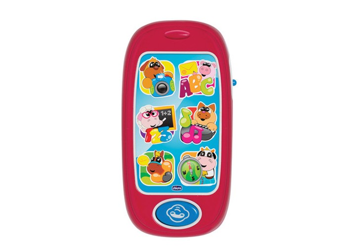 Развивающая игрушка Chicco Говорящий смартфон АВСГоворящий смартфон АВСChicco Говорящий смартфон АВС - это потрясающая модель детского телефона, которая обязательно понравится малышу. На экране детского смартфона изображены шесть забавных животных, которые разговаривают на двух языках: русском и английском. С помощью кнопки вызова можно позвонить любому из них и животные расскажут малышу о буквах, цифрах, днях недели и многом другом. Во время игры у смартфона активируется подсветка.  Работает на батарейках Возраст: от 6 месяцев<br>
