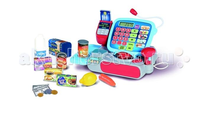Casdon  Кассовый аппарат СупермаркетКассовый аппарат СупермаркетCasdon Кассовый аппарат Супермаркет  Покупатель может расплачиваться как наличными, так и карточкой при помощи терминала  Для того чтобы узнать цену товара малыш может использовать сканер  Чтобы принять оплату, продавцу нужно нажать на кнопочку Сash, и отсек для денег откроется с забавным звуком  Кассу можно также использовать как калькулятор - играя с ним малыш научится считать  Нажатие кнопочек сопровождается забавными звуками   В комплекте: касса с микрофоном и отсеком для денег терминал для карточек сканер набор имитационных денег и продуктов кредитная карточка  Возраст: от 3 лет Тип батареек: 3 x AA / LR6 1.5 V (пальчиковые). (не входят в комплект)<br>