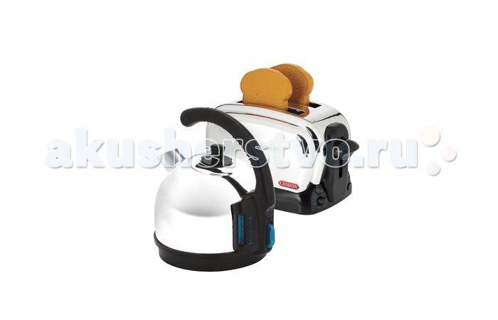 Casdon  Игровой набор Для завтракаИгровой набор Для завтракаCasdon Игровой набор Для завтрака  Крышка чайничка открывается, и малыш может наливать туда воду, чтобы сделать чай или кофе  Имеется кнопочка, имитирующая кнопку включения настоящего чайника, а также показатель уровня воды  Чтобы поджарить тосты малышу нужно поместить кусочки хлеба в отделения тостера и опустить вниз рычажок  Затем нужно покрутить ручку таймера, и через некоторое время готовые хлебцы выпрыгнут из тостера   В комплекте: чайничек тостер 2 кусочка хлеба (выполненные из пластика)  Высота чайника: 15 см Размер тостера: 21 х 11 х 11.5 см Размер муляжа хлеба: 7.5 х 6.5 х 1 см Возраст: от 3 лет<br>