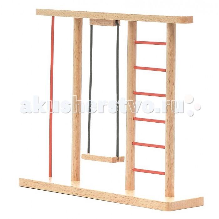 Pupsique Качели с лестницей для куколКачели с лестницей для куколКачели с лестницей для кукол - это прекрасный аксессуар для игры с мини-куклами.   Ваш ребенок может придумать и разыграть различные ситуации, например, изобразив игровую площадку или парк с детьми.  Игрушка изготовлена из высококачественного материала, в производстве используется древесина бука и клена.   Игрушка обеспечивает развитие и обучение вашего ребенка в процессе игры.  Размер 18х15.5х4.5 см.<br>