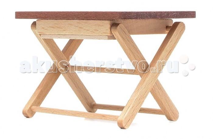Pupsique Садовый столик для куколСадовый столик для куколСадовый столик для кукол - это прекрасный аксессуар для игры с мини-куклами.   Ваш ребенок может придумать и разыграть различные ситуации, например, изобразив игровую площадку или парк с детьми.  Игрушка изготовлена из высококачественного материала, в производстве используется древесина бука и клена.   Игрушка обеспечивает развитие и обучение вашего ребенка в процессе игры.  Размер 8.5х5.5х6 см.<br>