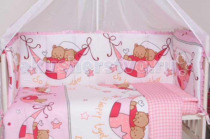 Бампер для кроватки Мой Ангелочек Дизайн № 7Дизайн № 7Борт в кроватку Дизайн № 7 двухсторонний. Бампер в кроватку защитит малыша, пока он маленький. И послужит отличным украшением детской кроватки.  Состав: Борт 54х60 см - 1 ед; 40х60 см - 1 ед; 40х120 см - 2 ед   Характеристики: Ткань: твилл сатин Состав ткани: 100%  хлопок Плотность ткани: 110 гр/м2 Наполнитель: термофайбер Состав наполнителя: 100% п/э Плотность наполнителя: 550 гр/м2 Декоративные элементы: на бортах рюши Упаковка: сумка - чемодан<br>