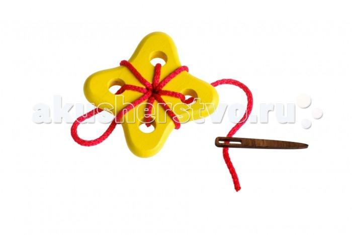 Деревянная игрушка Томик Шнуровка Цветок 3