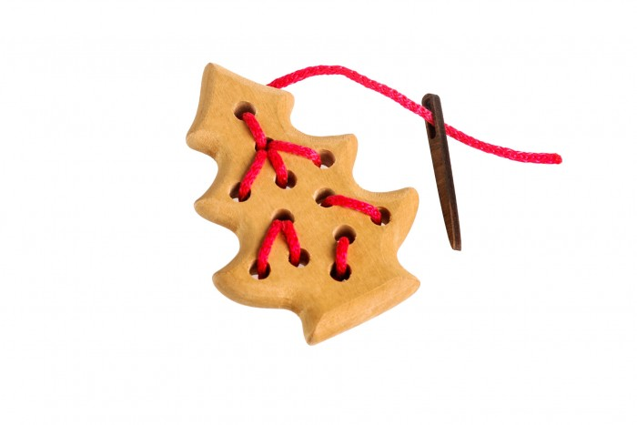Деревянная игрушка Томик Шнуровка Елочка 3 детали