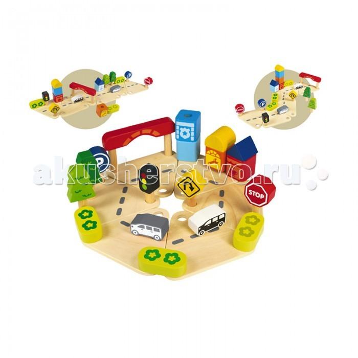 Деревянная игрушка Im toy Конструктор Дорожное движениеКонструктор Дорожное движениеЯркий деревянный конструктор Дорожное движение от фирмы Im Toy  удивительная развивающая игрушка, которая заинтересует малыша своим красочным дизайном и различными возможностями.   Конструктор состоит из двух фигурок автомобилей, элементов инфраструктуры, дорожных знаков, светофора и, конечно же, дорожного полотна. Из этих ярких деталей малыш сможет собрать дорогу различной структуры, создать настоящий город. Игрушка будет развивать у малыша мышление, память и координацию, а также мелкую моторику рук.   Все детали выполнены из натурального дерева и окрашены безопасной нетоксичной краской. Это очень важно для обеспечения безопасности малыша.<br>