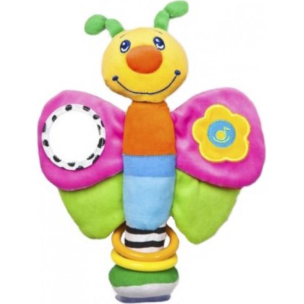 Подвесная игрушка Жирафики Мотылек на присоскеМотылек на присоскеПодвесная игрушка Жирафики Мотылек на присоске - привлекает яркостью цвета. Форма удобна и безопасна для малыша.   Особенности: На одном крылышке — зеркальце, в котором малыш может увидеть свое отражение. На другом крылышке — маленькая кнопочка, нажав на нее, малыш услышит приятную музыку. В нижних крылышках — колокольчик и пищалка. Крылышки весело шуршат. На нижней части туловища мотылька есть присоска —  с ее помощью можно прикрепить мотылька к любой гладкой горизонтальной поверхности.  Размеры: 20х6х27 см<br>