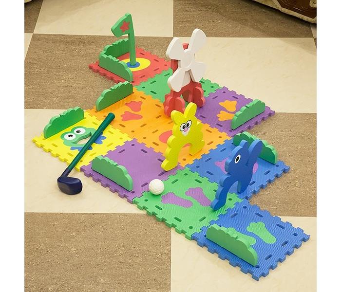 Игровой коврик FunKids Гольф СетГольф СетИгровой коврик FunKids Гольф Сет - набор из 10 частей с мячиком и клюшкой.   Особенности: Мягкий и прятный на ощупь материал без запаха придется по вкусу вашему малышу. Образовательный - рисунки и фигурки с изображением животных; Мягкая рифленная поверхность - смягчает удары при падении и поглащает шум; Легко собирается и разбирается, хорошо моется и не впитывает влагу; Безопасный - не содержит фталат, аммиак и ПВХ; Удобный - легкий и компактный для хранения и транспортировки.  Размер плит: 10 шт. - 25 см х 25 см х 1,5 см;  Площадь коврика в собранном виде: 0,625 кв. м.   Состав: EVA foam (вспененный полиэтилен с добавлением этилвинилацетата)<br>