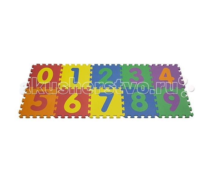 Игровой коврик FunKids Цифры-2Цифры-2Игровой коврик FunKids Цифры-2 - набор из 10 квадратных плит размера 12 (30х30 см) разного цвета с вложенными большими цифрами от нуля до девяти, которые можно вынимать, использовать самостоятельно и вставлять обратно.   Особенности: Образовательный - изучайте цифры и используйте плиты как конструктор; Легко собирается - конфигурацию настила меняйте в зависимости от геометрии комнаты; Мягкая рифленная поверхность - смягчает удары при падении и поглащает шум; Безопасный - не содержит фталат, аммиак и ПВХ; Удобный - легкий и компактный для хранения и транспортировки.  Размер частей (плит): 30 см х 30 см х 1,5 см Площадь набора пазлов в собранном виде: 0,9 кв.м.  Состав: EVA foam (вспененный полиэтилен с добавлением этилвинилацетата)<br>