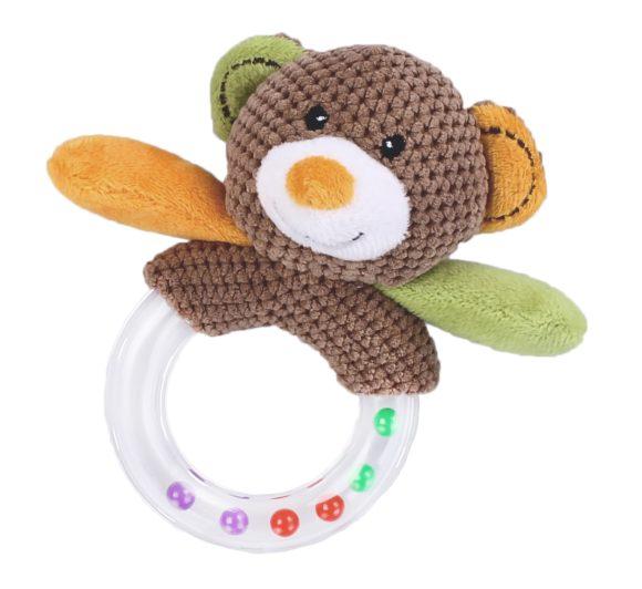 Погремушка Жирафики Мишка 93674Мишка 93674Жирафики Мишка развивающий из текстиля. Потрясывая погремушку в руке, маленькие шарики, находящиеся внутри кольца, издают приятный звук, который обязательно заинтересует малыша.   Погремушки имеют яркие, контрастные цвета – это привлекает внимание, а также знакомит с разнообразием цветов. Развивает воображение, цветовое восприятие, мелкую моторику, тактильные ощущения.   Размеры: 15х5х21 см<br>