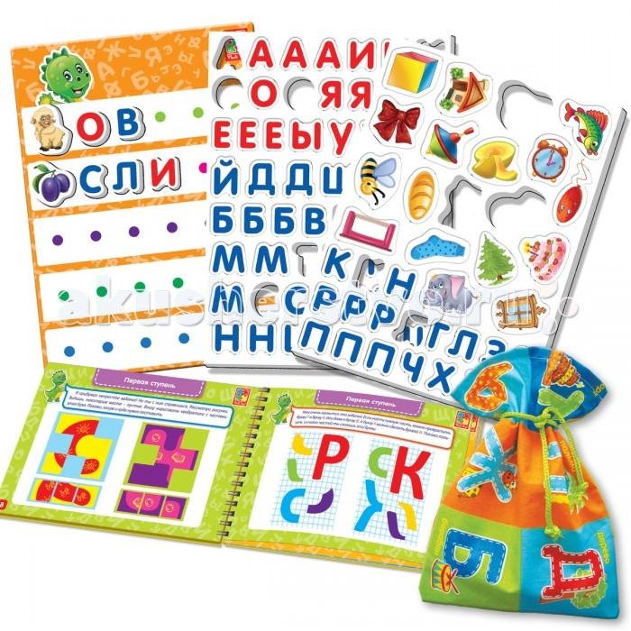 Vladi toys Настольная игра Больше чем азбукаНастольная игра Больше чем азбукаVladi toys Настольная игра Больше чем азбука - это набор, который позволит ребенку быстро выучить буквы, а также, развить другие навыки. В комплекте имеется задачник с простыми и интересными задачками, магнитная доска, магниты в виде предметов и букв, а также кубик. С таким набором обучение станет веселым и интересным.   Комплект: 73 магнитные буквы, 19 магнитных картинок, магнитная доска, пособие с заданиями, наклейка-декор, мешочек из ткани.<br>