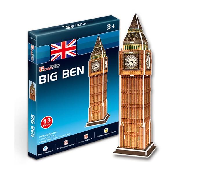 Конструктор CubicFun 3D пазл Биг бен (Великобритания) мини серия3D пазл Биг бен (Великобритания) мини серияCubicFun 3D пазл Биг бен (Великобритания) мини серия.  Биг-Бен — колокольная башня в Лондоне. Официальное наименование — «Часовая башня Вестминстерского дворца», также её называют «Башней Св. Стефана».  Башня была возведена в 1858 году, башенные часы были пущены в ход 21 мая 1859 года. Высота башни 61 метр (не считая шпиля); часы располагаются на высоте 55 м от земли. При диаметре циферблата в 7 метров и длиной стрелок в 2,7 и 4,2 метра, часы долгое время считались самыми большими в мире. Биг-Бен стал одним из самых узнаваемых символов Великобритании, часто используемых в рекламе, фильмах и т. п.   Функции: - помогает в развитии логики и творческих способностей ребенка - помогает в формировании мышления, речи, внимания, восприятия и воображения - развивает моторику рук - расширяет кругозор ребенка и стимулирует к познанию новой информации.  Практические характеристики: - обучающая, яркая и реалистичная модель - идеально и легко собирается без инструментов - увлекательный игровой процесс - тематический ассортимент - новый качественный материал (ламинированный пенокартон).<br>