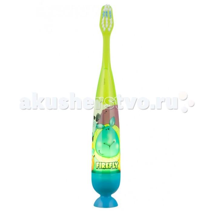 Dr.Fresh Зубная щетка Firefly с мигающим таймером 1 шт.Зубная щетка Firefly с мигающим таймером 1 шт.Dr.Fresh Зубная щетка Firefly с мигающим световым таймером 1 шт. поможет Вашему ребенку превратить чистку зубов в увлекательное занятие.   Особенности: Щетка снабжена мигающим таймером (1 мин).  Нажмите на кнопку и лампочка начнет мигать. Через 1 минуту лампочка автоматически выключится 1 мин - время рекомендованное стоматологами для чистки одного ряда зубов таймер приучает детей к привычке чистить зубы не менее 1 минуты и превращает чистку зубов в интересное занятие.  Мягкая щетина.  Батарейка в комплекте.  Батарейка рассчитана на срок службы 2-3 месяца (время рекомендованное стоматологами для замены щетки).  Замена батарейки не предусмотрена.  Предназначена для детей от 3х лет.   Внимание: не является игрушкой! Использовать под присмотром взрослых. Не разрешайте ребенку жевать или рвать резиновый наконечник. Под ним находится микро батарейка, которая может причинить вред при проглатывании.<br>