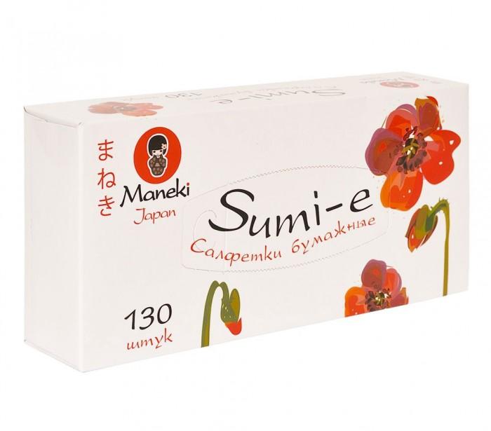 Maneki Салфетки бумажные Sumi-e белые 2 слоя 130 шт.