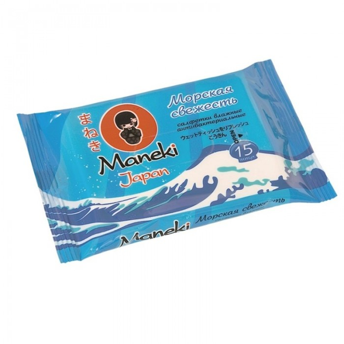 Maneki Влажные салфетки Kaiteki антибактериальные Морская свежесть 15 шт.