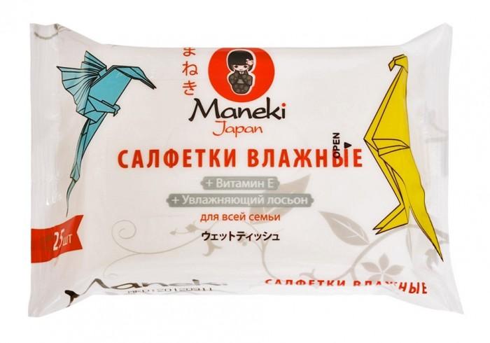 Maneki Влажные салфетки Kaiteki для всей семьи с увлажняющим лосьоном 25 шт.