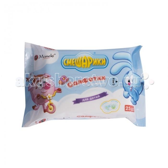 Maneki Влажные салфетки Смешарики детские с экстрактом ромашки и Алоэ Вера 25 шт.
