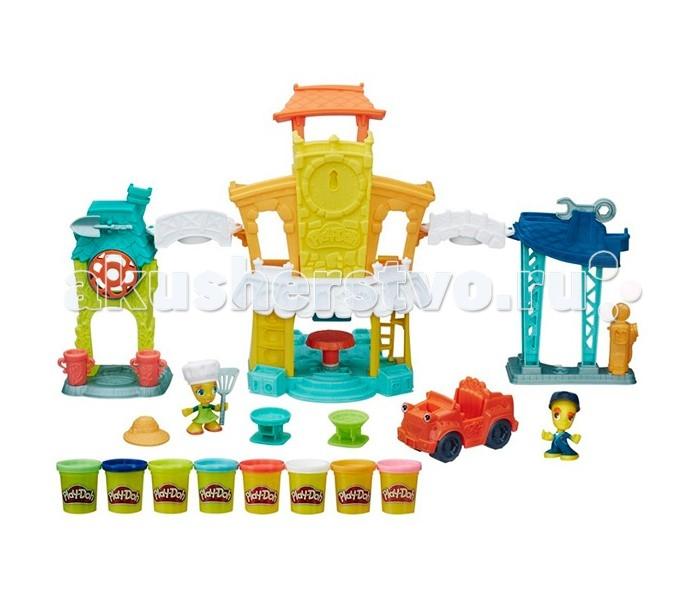 Play-Doh Игровой набор Главная улицаИгровой набор Главная улицаПострой свой собственный пластилиновый город с новым замечательным игровым набором Play-Doh Town Главная улица.  Серия игрушек Play-Doh Town объединяет в себе традиционную лепку из пластилина и наборы фигурок людей, животных, составные части городских зданий и различного городского транспорта. Из элементов этого набора Вы можете построить городскую площадь с ратушей с часами и фонтаном, украсить их цветами и птицами.  В комплект набора входит сразу шесть баночек с пластилином разного цвета, при чем сами контейнеры с массой для лепки могут являться непосредственными частями Ваших построек.  Кроме того, в наборе Вы найдете две фигурки и игрушечный пластиковый автомобильчик.  Развивайте Вашу фантазию и воображение, обустраивайте ваш город Плей До по своему вкусу, ведь игровые наборы Play-Doh Town – это не только веселый игровой процесс, но и весьма полезное для развития творческих талантов времяпрепровождение!<br>