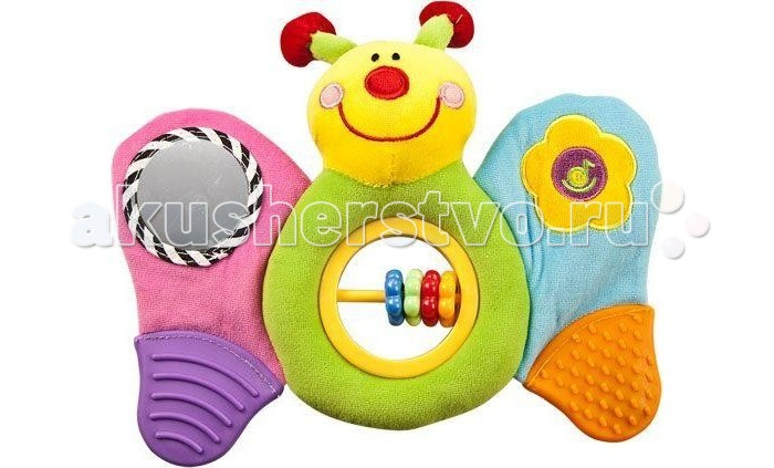 Развивающая игрушка Жирафики Бабочка 93506Бабочка 93506Игрушка Жирафики Бабочка сшита из цветных материалов с разной фактурой. Это веселый персонаж, который станет для вашего ребенка увлекательным развлечением. Он имеет забавный вид.   Особенности: Если взять бабочку в руку и потрясти ею в воздухе, разноцветные колечки на ее животике будут весело греметь. На одном крылышке бабочки – зеркальце, в нем малыш сможет увидеть свое отражение. На другом крылышке – кнопочка с нарисованной ноткой. Нажав на нотку, малыш услышит приятную детскую музыку. Нижние части обоих крылышек – это фактурные прорезыватели для зубов. Изготовлена игрушка из высококачественных и безопасных материалов, поэтому подойдет для игры самых маленьких.  Размеры: 22х3х28 см<br>