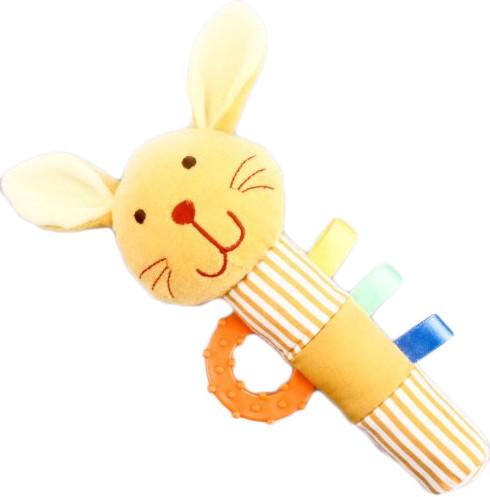 Погремушка Жирафики ЗайчикЗайчикЖирафики Погремушка Зайчик из текстиля для детей до 3 лет. Она сшита из разноцветных материалов, очень приятных на ощупь. Малышу удобно будет держать такую игрушку в своей руке. Если ею немного потрясти, она начнет греметь.  Размеры: 15х3х23 см<br>