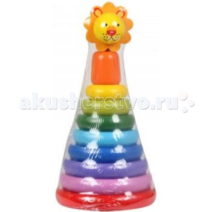 Деревянная игрушка Игруша Пирамидка львенокПирамидка львенокПирамидка с наконечником в виде милого льва это одновременно интересная и яркая игрушка, а так же тренажер для малыша.   С помощью пирамидки ребенок может освоить устный порядковый счет, развить мелкую моторику, улучшить координацию движений, а так же даст понятие о размере и цвете.  Пирамидка в игровой форме познакомит ребенка с базовыми цветами и формами, а так же поможет разнообразить его досуг.  Игрушка изготовлена из экологически чистой древесины.<br>